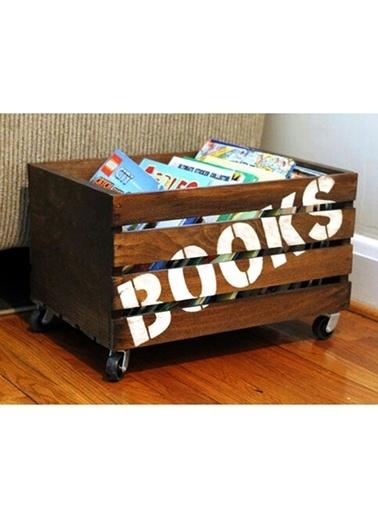 Oldwooddesign Tekerlekli Kitaplık Kasa Renkli